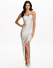 Silver Foil Ruched Wrap Maxi Dress