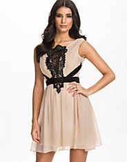 Lace Front Waistband Chiffon Dress