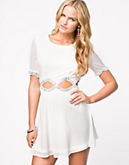 Embellished Cutout Skater Dress