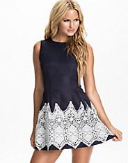 Crochet Contrast Skater Dress