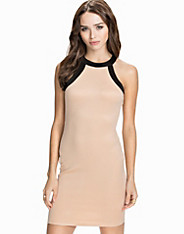 High Neck Contrast Bodycon