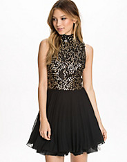 Sequin High Neck Kick Out Net Pleat Dress