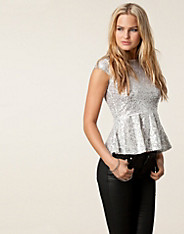 Sequin Peplum Zip Top
