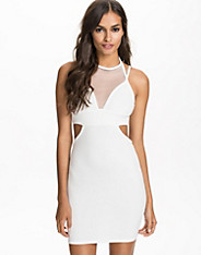 Straps & Cut Out Mesh Bodycon Dress