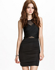 Slinky Wrap Over Mesh Dress