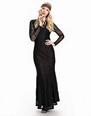 LS Open Back Lace Maxi Dress