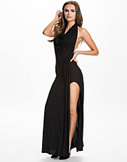 Cowl Neck Side Boob Split Dress