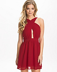 Cross Front Backless Skater Chiffon Dress