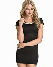 Low Back Diamonte Cap Sleeve Dress