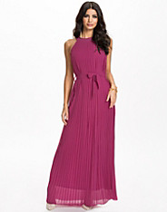 Pleated Chiffon Halter Maxi Dress