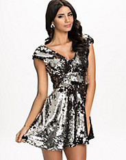 V Neck Heavy Sequin Dress