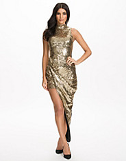 Sequins Turn Up Side Ruched Dress