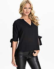 V-Front Knot Sleeve Blouse