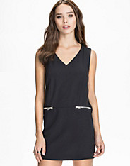V-Neck S/S Zip Dress