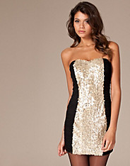 Paprika Sequin Bandeau Dress