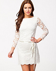 Low Waist Scalloped Hem Lace Dress