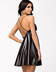 High Shiny Strap Swing Dress