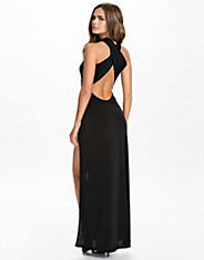 Plain Cross Back Split Maxi Dress