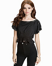 Beaded Crop Frill Top nly trend